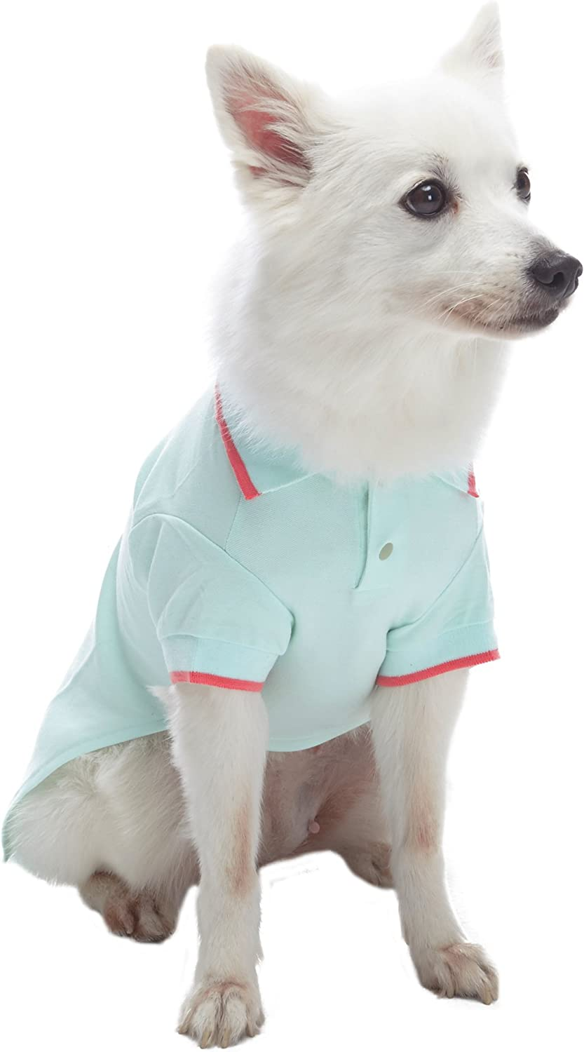 Pack of 2 Clothes for Dogs Blueberry Pet Back to Basic Cotton Blend Dog Polo Shirt in Pastel Pink and Blue Back Length 10//25cm