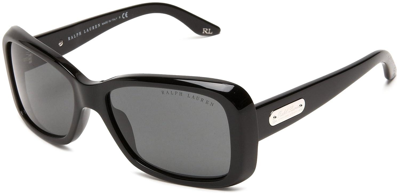 e20a6b94ae33 Ralph Lauren Women's RL 8066 American Classic Rectangular Sunglasses, 500187,  Black frame, Gray lens: Amazon.co.uk: Clothing