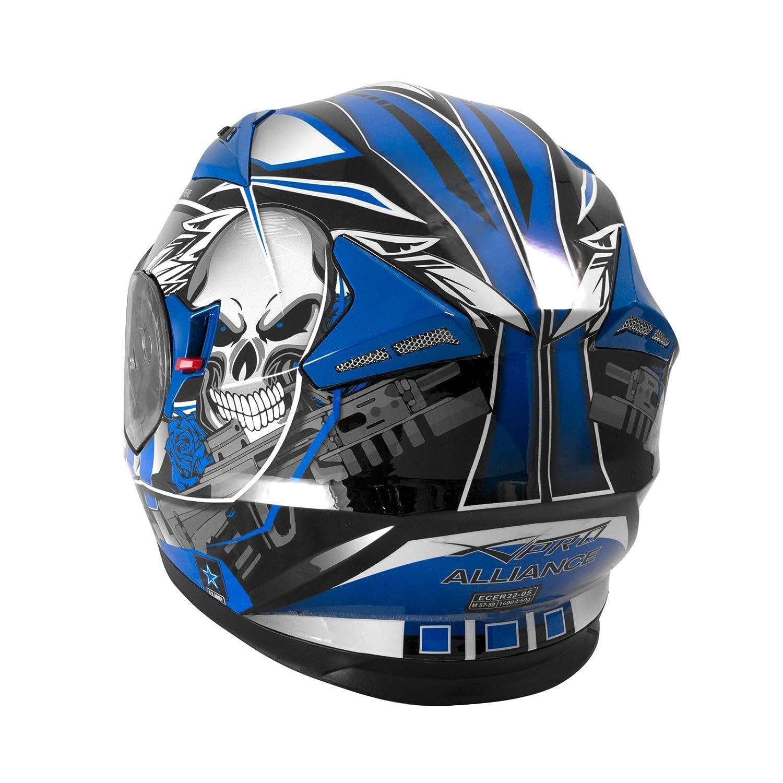Casque Int/égral Visi/ère Pare Soleil ECE 22-05 Approuv/é Moto Scooter A-Pro Bleu L
