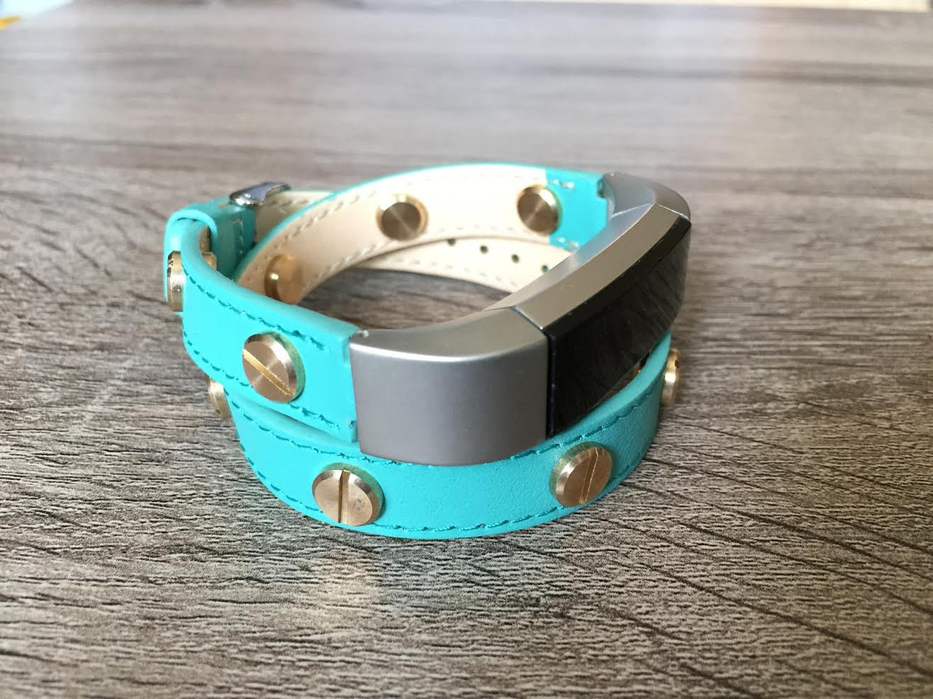 Unique Double Wrapped Turquoise Leather Band For Fitbit Alta And Alta HR Handmade Eco Friendly Bracelet With Multiple Gold Rivets By BSI   B06Y5Z48CL