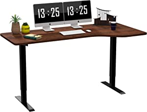 SMAGREHO Large L-Shaped Electric Standing Desk Height Adjustable, 60 x 33 inches MDF Splice Board, Sit to Stand Home Office Desk with 3 Memory Buttons, Black Frame/Walnut Desktop