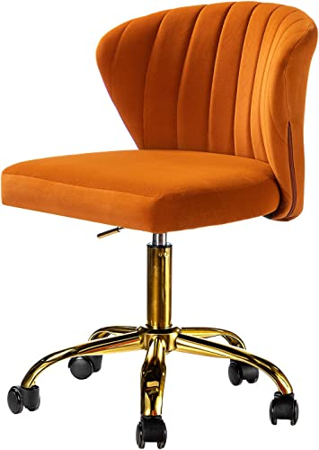 Orange Office Chair Modern Upholstered Wheel Swivel Armless Velvet Task Chair