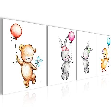 Bilder Kinderzimmer Tiere Wandbild 160 x 50 cm Vlies - Leinwand Bild XXL  Format Wandbilder Wohnzimmer Wohnung Deko Kunstdrucke Gelb 4 Teilig - MADE  IN ...