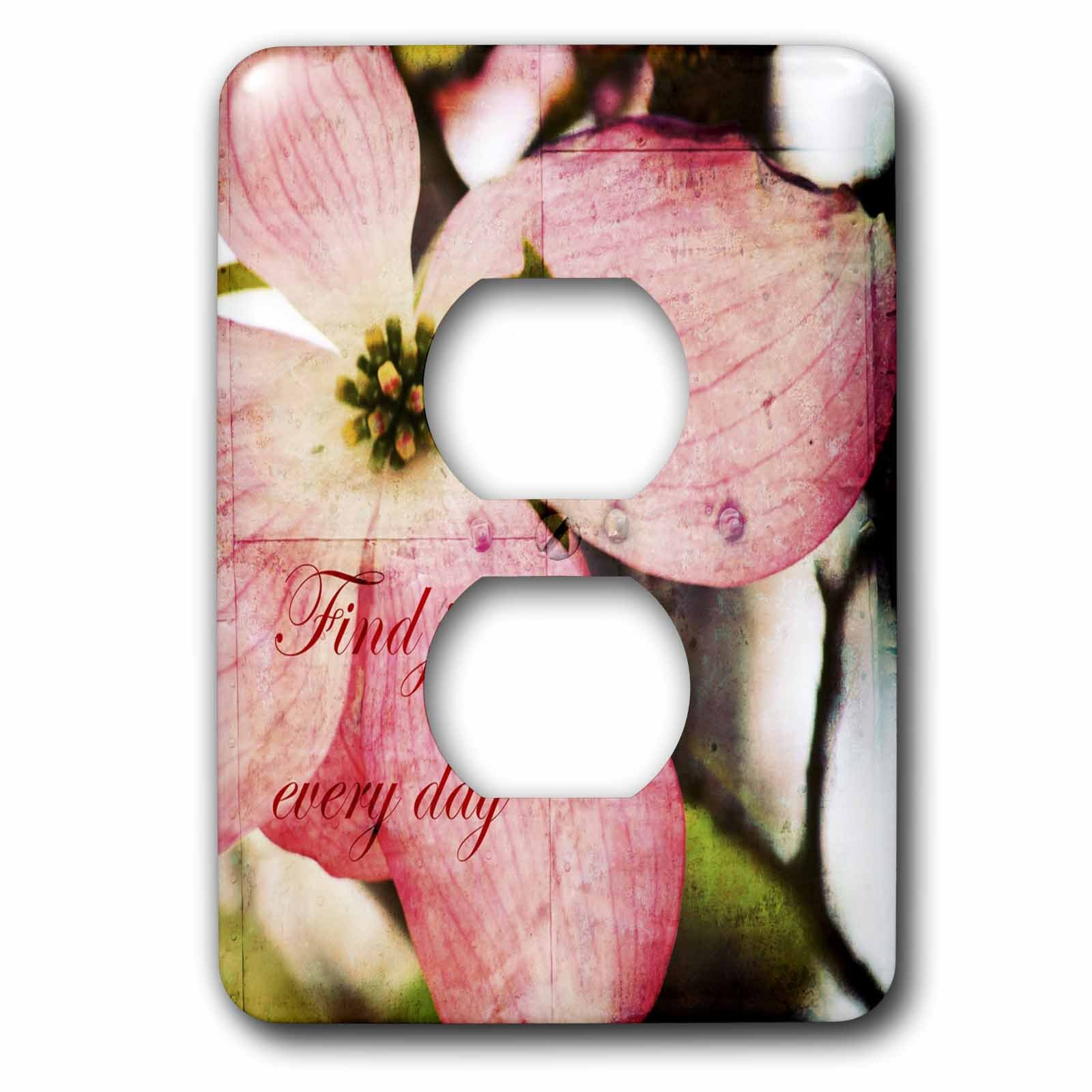 3dRose lsp_57208_6 Find Joy Every Day Pink Dogwood Flower Inspirational Floral Print 2 Plug Outlet Cover by 3dRose