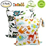BESEGO Wet and Dry Cloth Diaper Bags - 2pcs, Nappy Organizer Bag, Waterproof Wet Bags for Swimsuit, Underwear, Breast Pump with 2 Zippered Pockets - 12'' x 14''