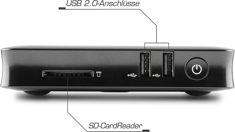 Silent-PC mit Intel QuadCore CPU 1920MHz 32GB SSD USB 3.1 lautlose CSL Narrow Box 4K 4GB // Win 10 schwarz HDMI SD WLAN 4GB DDR3-RAM Windows 10 Mini PC Intel HD Bluetooth