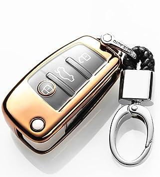YUWATON Funda para Llave de Coche con Mando a Distancia para Audi, A1, A3, A5, Q3, Q7, Carcasa para Llave, Llavero Dorado