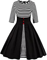 Babyonlinedress 3/4 Sleeve Fit and Flare Black Vintage Swing Casual dress