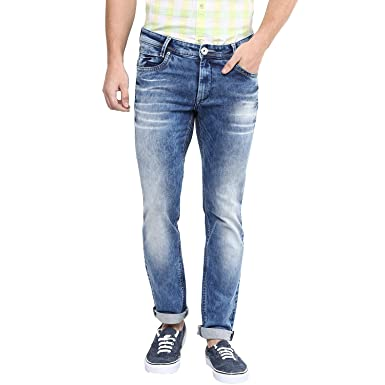 c139a4fd5a57 Mufti Mens Dark Blue Low Rise Super Slim Fit Jeans (38)  Amazon.in  Clothing    Accessories