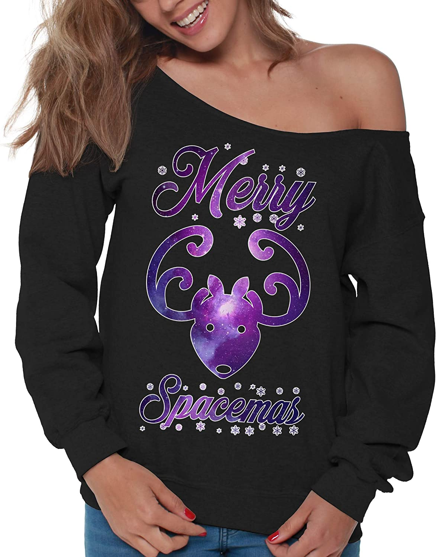 Vizor Science Christmas Sweatshirt Off Shoulder Space Sweater Nerd Gifts for Women