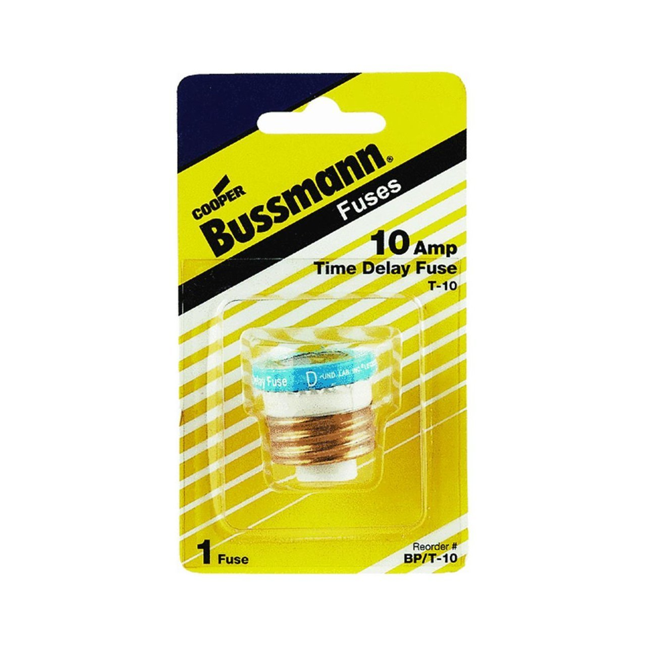 Bussmann T-10 10 Amp Type T Time-Delay Dual-Element Edison Base Plug Fuse, 125V UL Listed by Bussmann