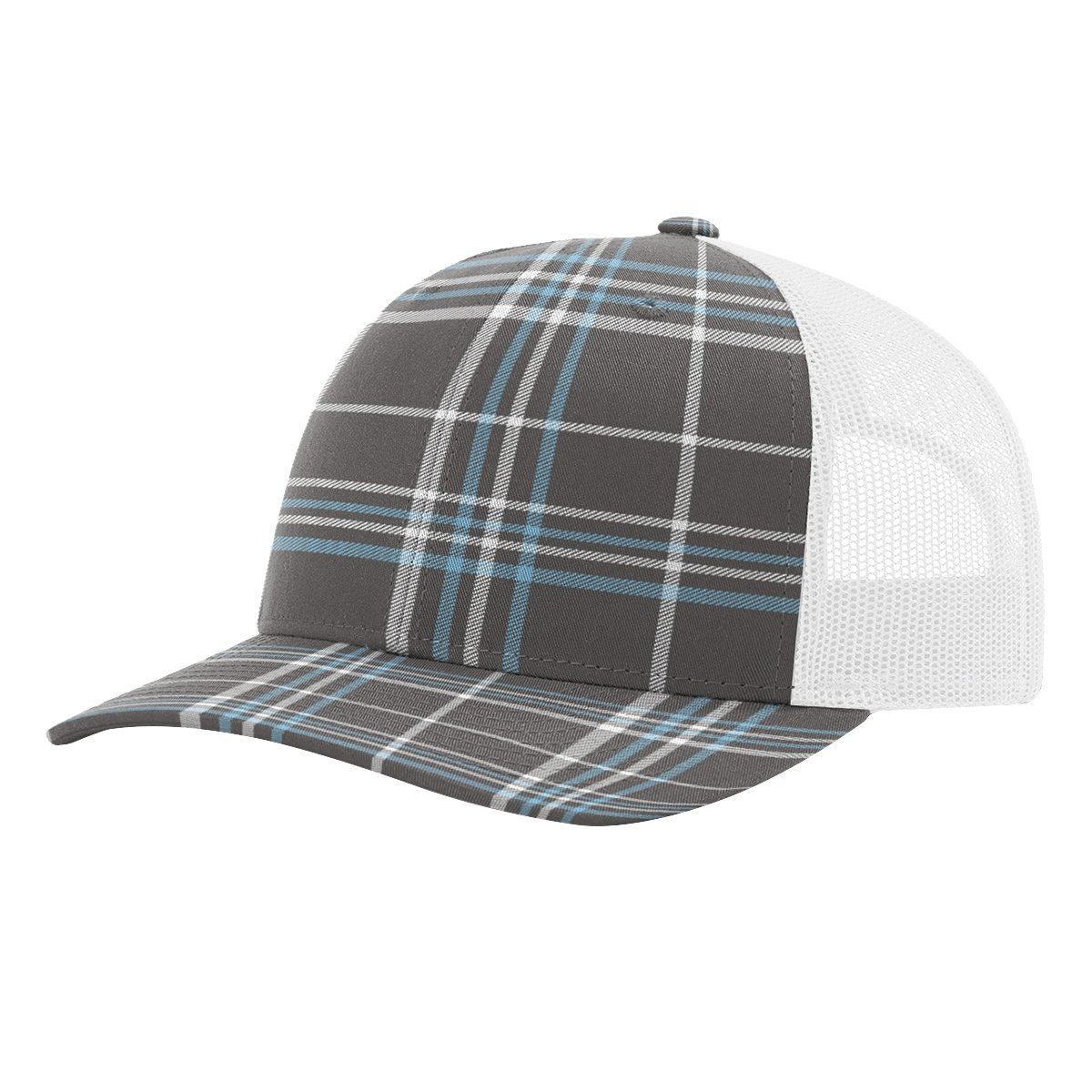 Twill Mesh Back Trucker Snapback Hat -- CHARCOAL COLUMBIA BLUE PLAID WHITE  at Amazon Men s Clothing store  c39017e4973