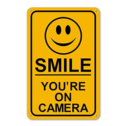 Amazon.com: Smile You re on cámara Sign Business ...