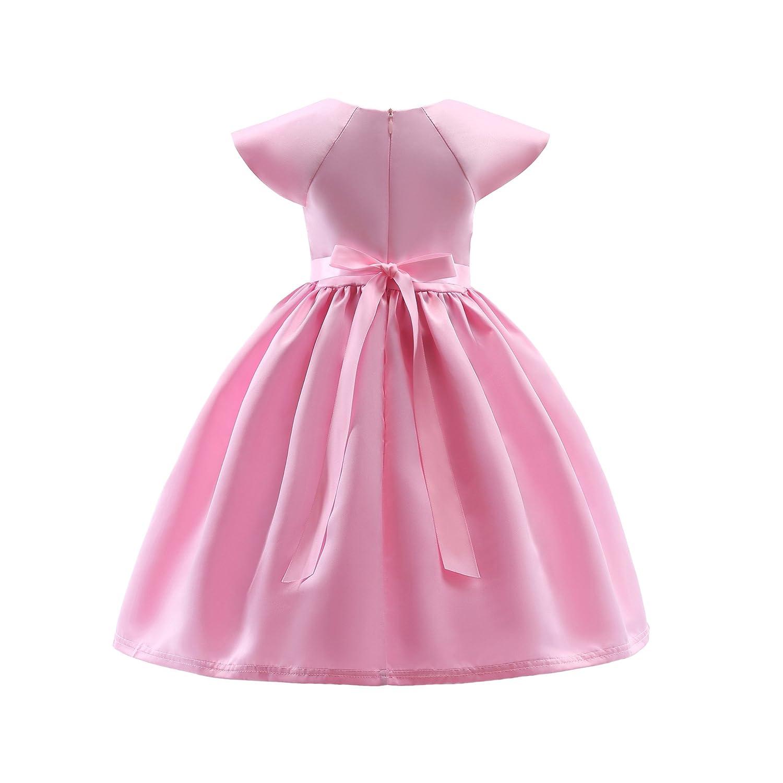 ADHS flor niña 12252 ocasión Rosado especial de encaje vestido ...