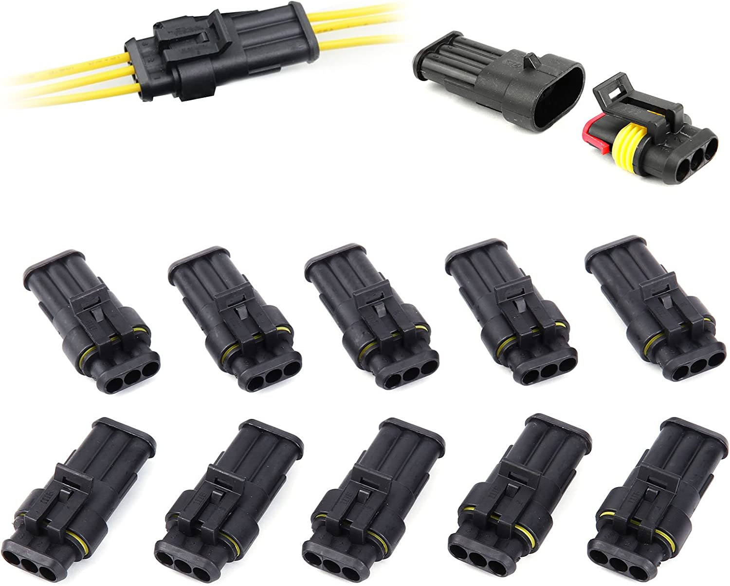 Hamimelon 10-30pcs 2 3 4 Pin Way Car Super Seal Waterproof Electrical Wire Connector Plug