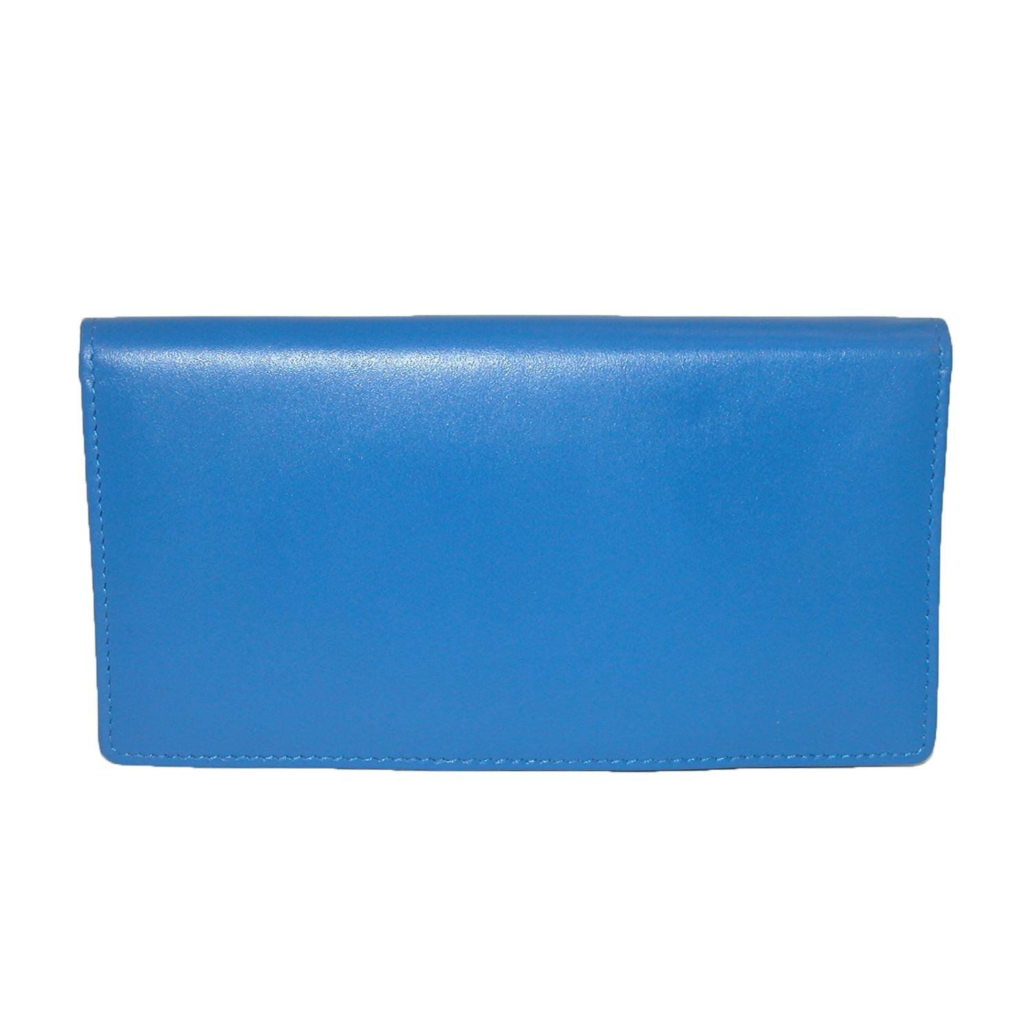 CTM Women's Leather Basic Checkbook Cover in Fashion Colors, Blue