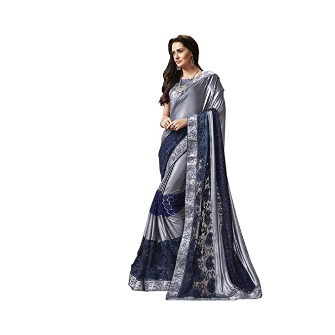4742b73169 Image Unavailable. Image not available for. Colour: Neel Madhav Enterprise Grey  Shimmer Lycra Party Wear Saree