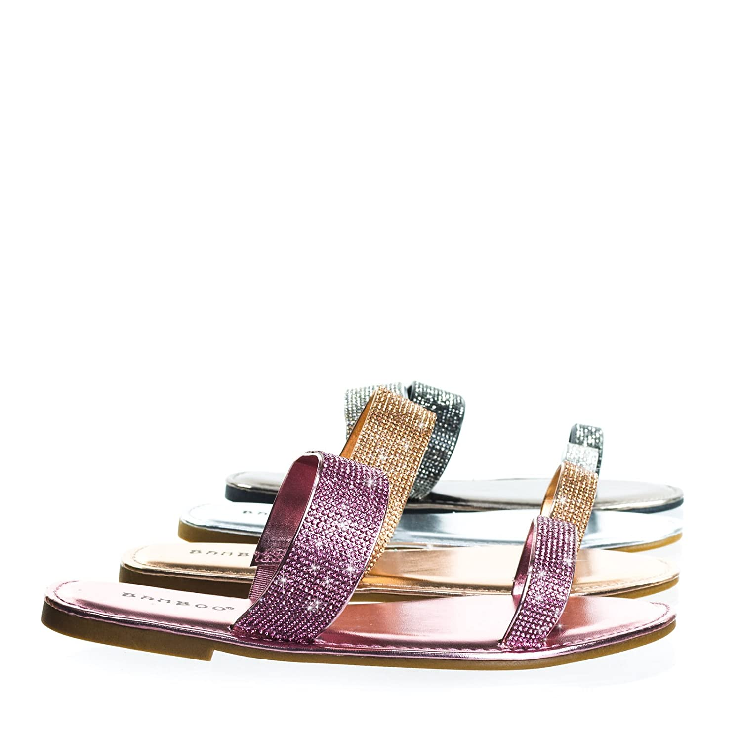 051ea648f Rhinestone Crystal Double Strap Slip On Slide in Flat Sandal  Amazon.co.uk   Shoes   Bags