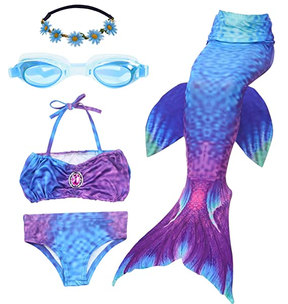 f45fe70740 Amazon.com: Mermaid Swimsuit, Mermaid Tails for 3-12 Years Old Girls ...