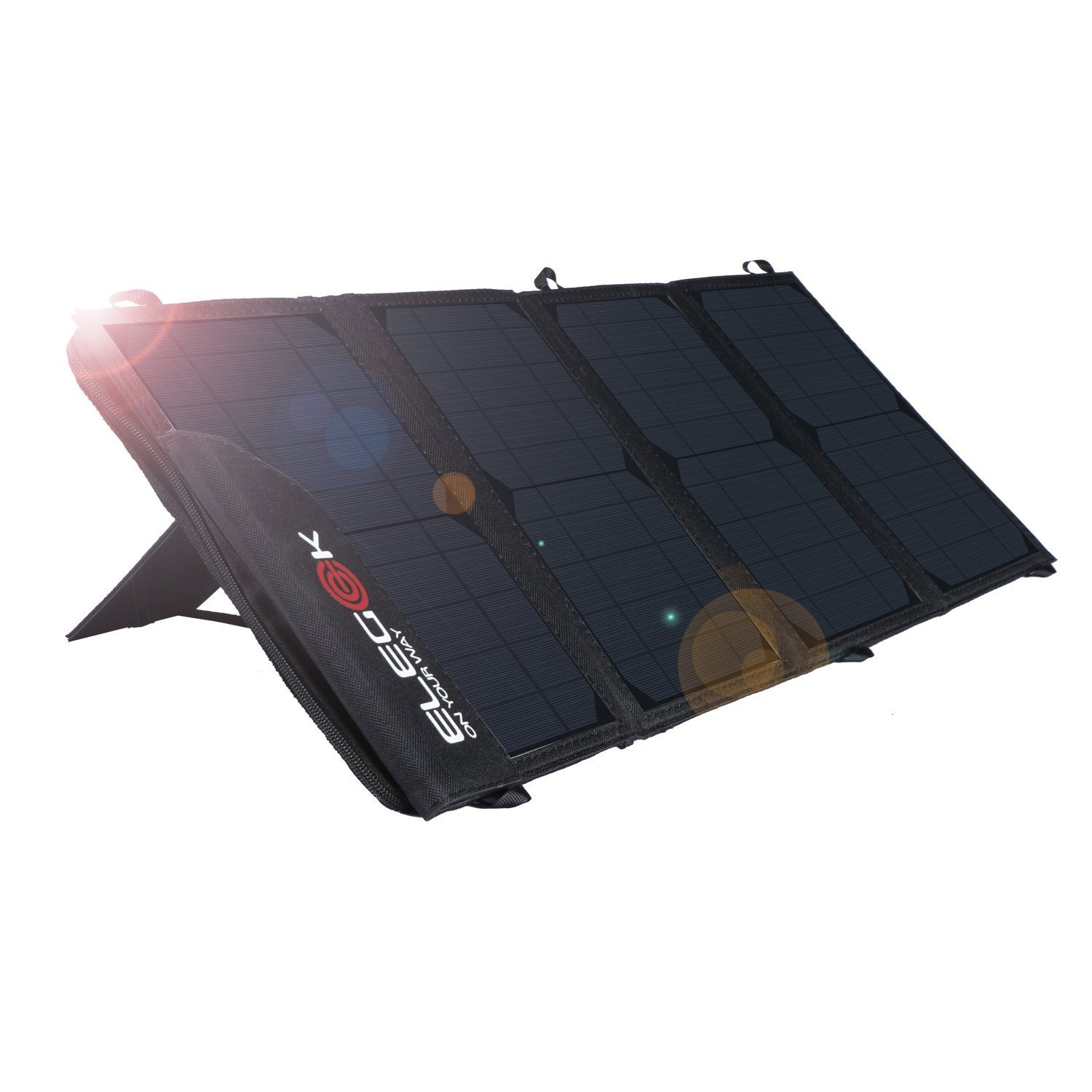 ELEGEEK 22W Foldable Solar Panel Phone Charger for iPhone X, iPhone 8 & 8 Plus, iPad, Galaxy S9, Note 8 in Camping Hiking Travel, Dual USB Ports