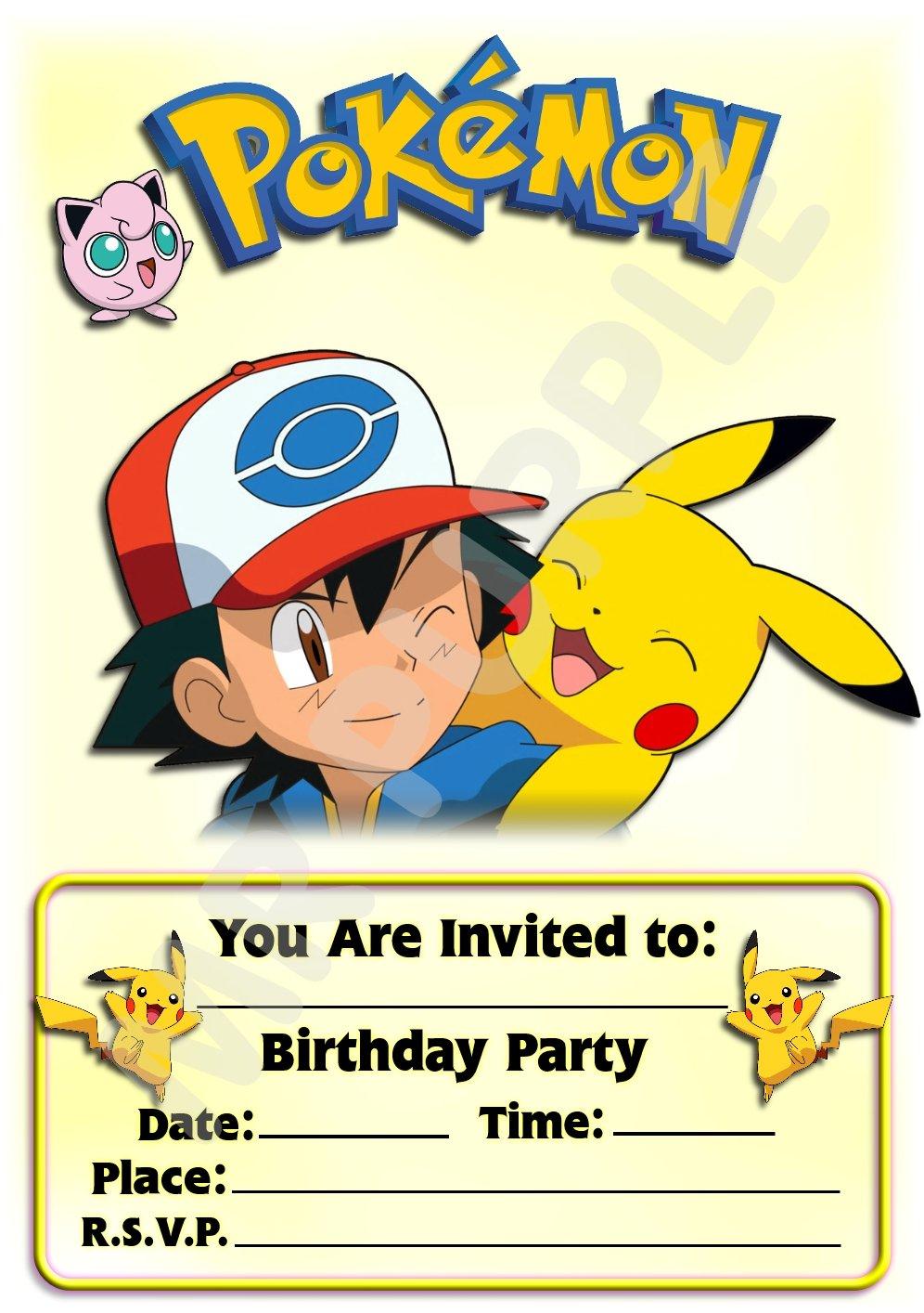 /F/ête//accessoires lot de 12/A5/invitations Pok/émon f/ête danniversaire Invite/ /Portrait en fr/êne et Pikachu Design/ WITHOUT Envelopes