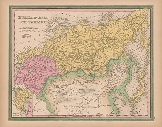 Russian Map Of Russia.Amazon Com Russia In Asia Vintage Map Original Russian Decor