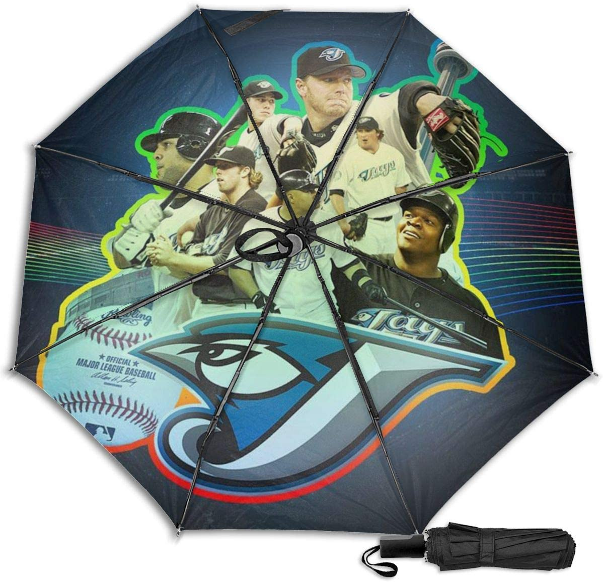 Lovesofun Portable Manual Umbrella Toron-to Blue Jay-s Compact Folding Business Umbrellas UV Protection Manual Tri-fold Umbrella for Men and Women