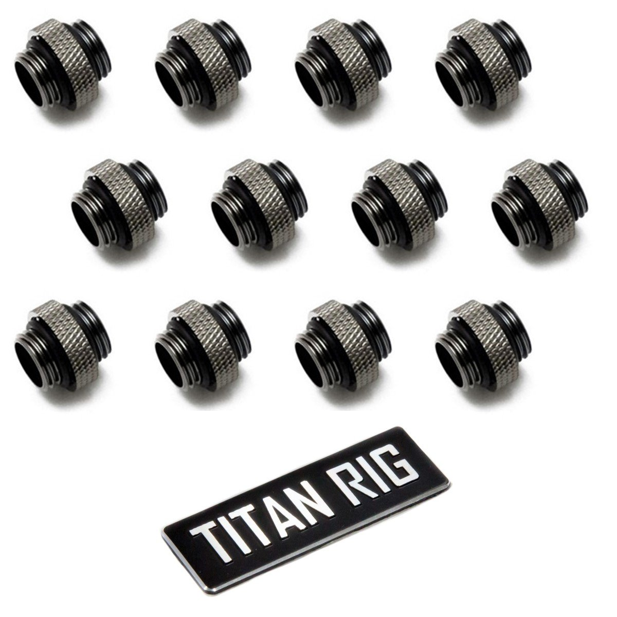"XSPC G1/4"" 5mm Male to Male Fitting, Black Chrome, 12-Pack"