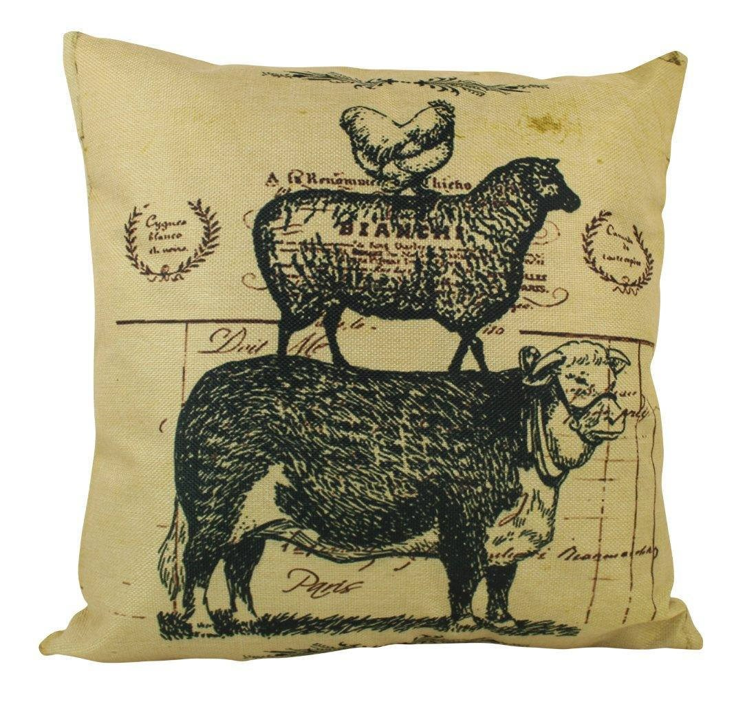 UniikStuff Farm Life | Pillow Cover | 18 x 18 | Home Decor | Primitive Decor | Farmhouse | Rustic Farmhouse Pillow | Stacked Animals | Modern Farmhouse