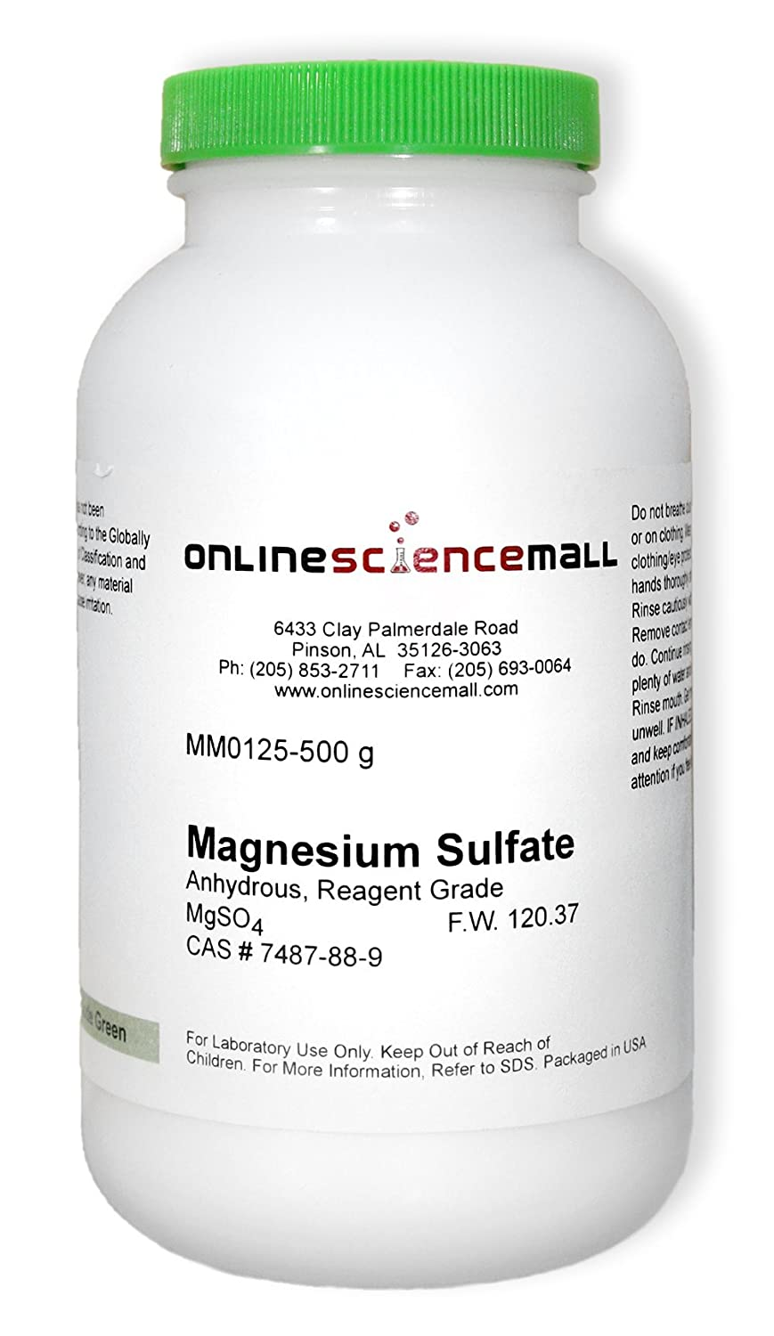Magnesium Sulfate, Anhydrous, 500g - Reagent Grade Chemical Reagent: Amazon.com: Industrial & Scientific