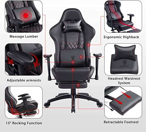 Dowinx Gaming Chair Ergonomic Racing Style Recliner with Massage Lumbar Support Office Armchair for Computer