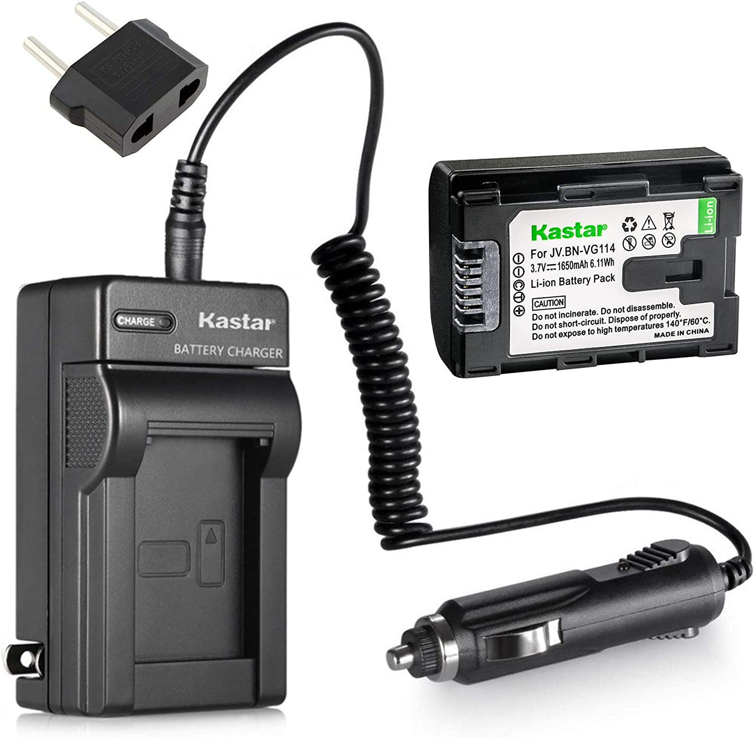GZ-E105REK Full HD Memory Camcorder GZ-E105RE Battery 2 Pack and LCD USB Battery Charger for JVC Everio GZ-E105