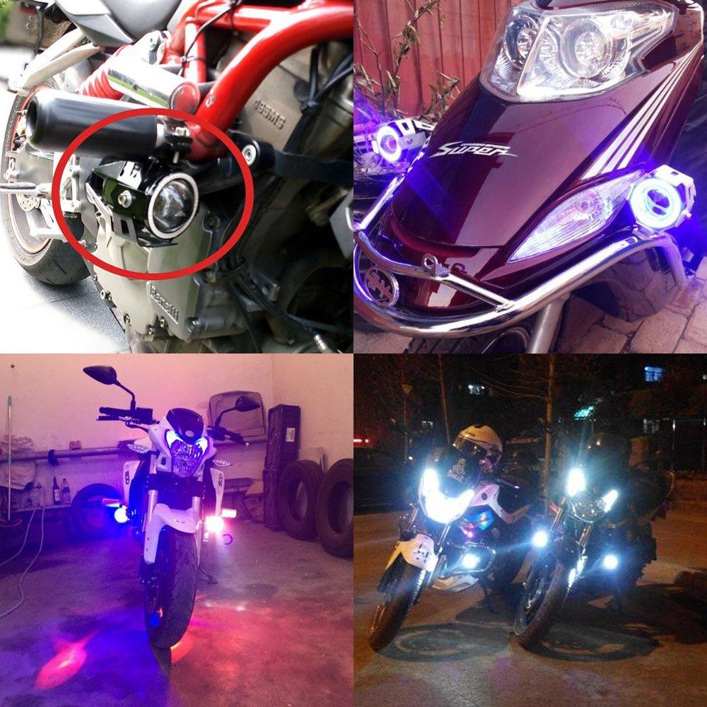 Fanale Moto Faro U7 LED Faro Anteriore con Angel Eyes luce dellanello 1PZ Bianco
