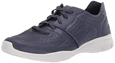 Skechers Women's Seager-Major League-Perfed Metallic Lace Up Jogger Oxford, Navy, 6.5 M US