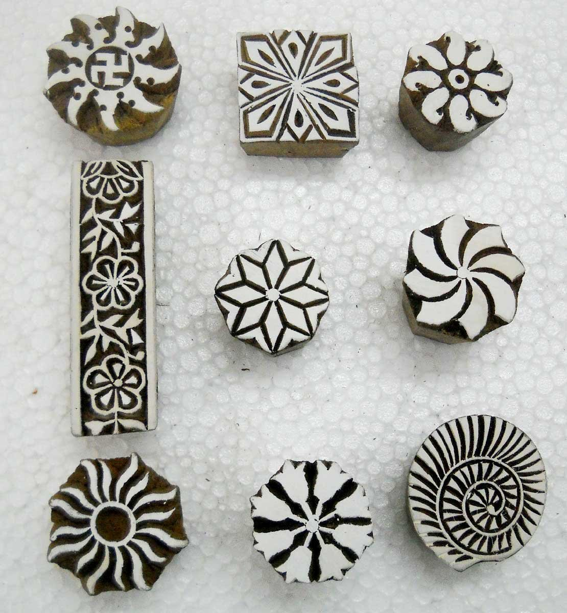 Wholesale Pack of Six unique Exotic Designs wooden block stamps// Tattoo// Handcarved Indian Textile Printing Blocks