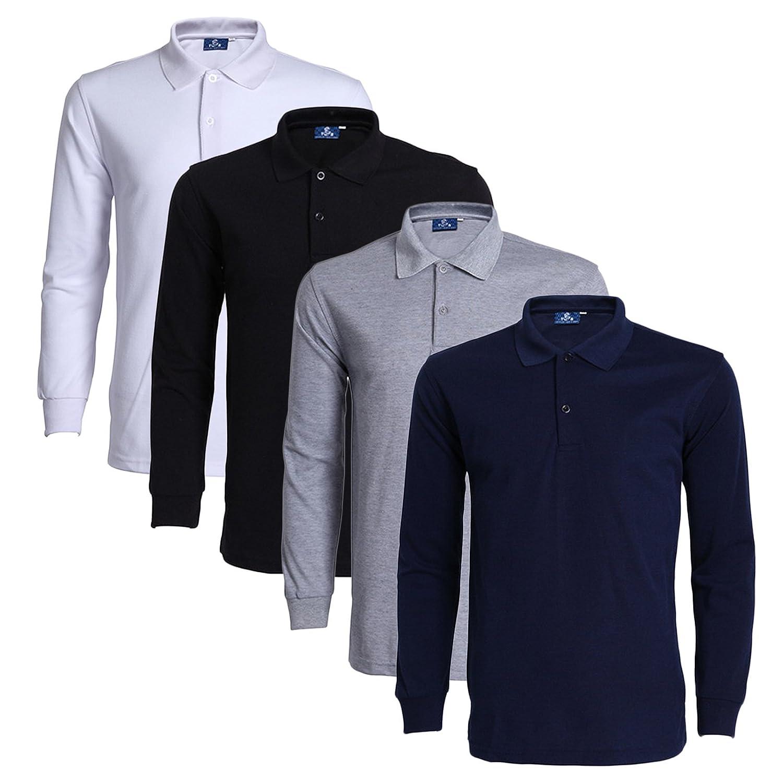 Lot de 4 M LEOCLOTHO Polo T-Shirt Homme Décontracté Manches Longues Travail Sport hauts Couleur Unie (Lot de 3 4 5)