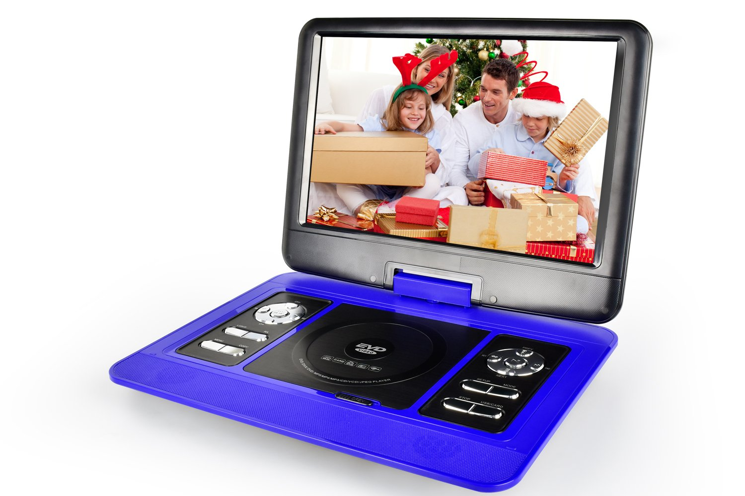 ZEROXCLUB 13.5-inch Portable DVD Player with Swivel Screen,Support USB/SD Card ,3 Hours Rechargeable Battery,Christmas Best Gift for Kids(Blue) by ZEROXCLUB