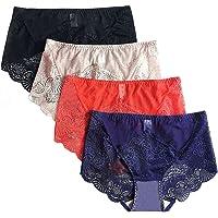MWMart Women's Sexy Lace Panties High-Rise Tummy Control Lingerie Underwear Briefs Floral Lace Boy Shorts