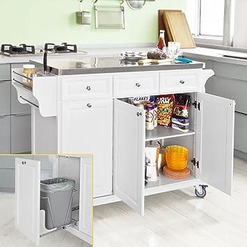 Amazon.de: SoBuy FKW33-W Neu Luxus-Küchenwagen mit Edelstahlplatte ...