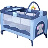 Costway Portable Infant Baby Travel Cot Bed Play Pen Child Bassinet Playpen Entryway W Mat 2 in 1 (Blue)