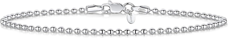 Amberta/® Bijoux Maille Boule Cha/îne Argent 925//1000 Longueur 18 19 cm Bracelet Largeur 2 mm
