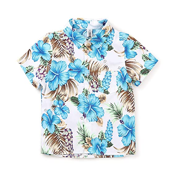 Little Big Boys Cotton Crane Button Down Short Sleeve Hawaiian Beach Casual Shirt