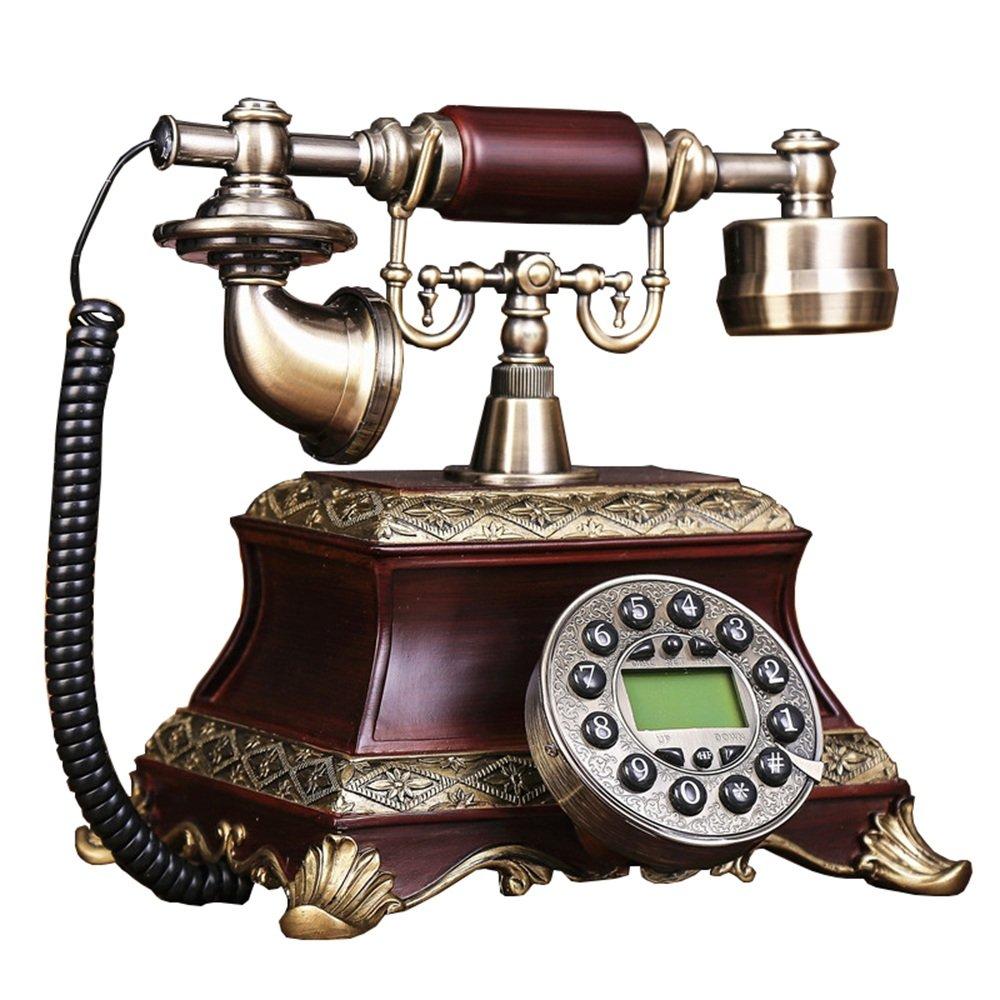 電話ファッション創造的なレトロヨーロッパの牧歌的なレトロ電話のヴィンテージ固定ホームオフィスの固定電話 (色 : Imitation wood color)  Imitation wood color B07DVX345V