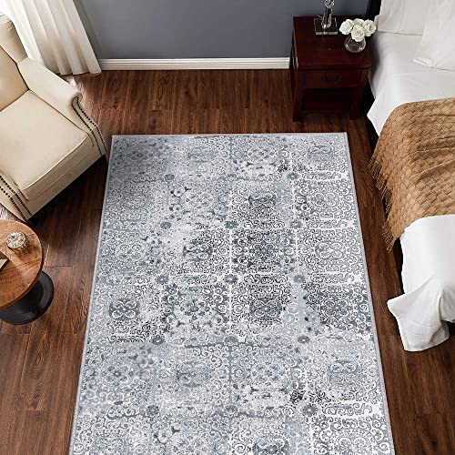 jinchan Vintage Area Rug for Dining Room Tile Design Elegant Floral Floorcover Indoor Soft Mat for Living Room Grey 5 3 x 7