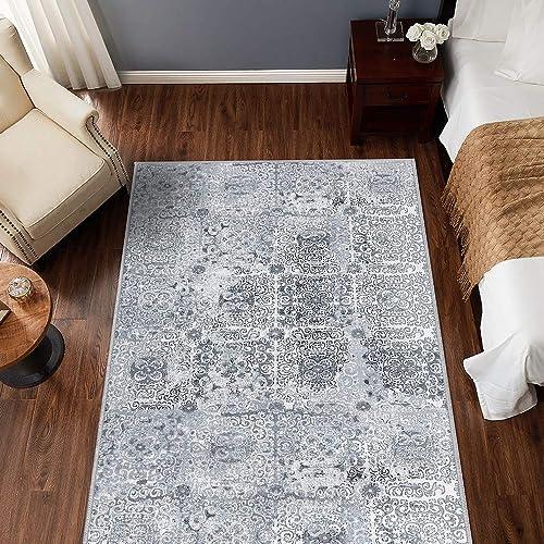 jinchan Vintage Area Rug for Kitchen Tile Design Elegant Floral Floorcover Indoor Soft Mat for Bedroom Living Room Grey 4 x 6 7