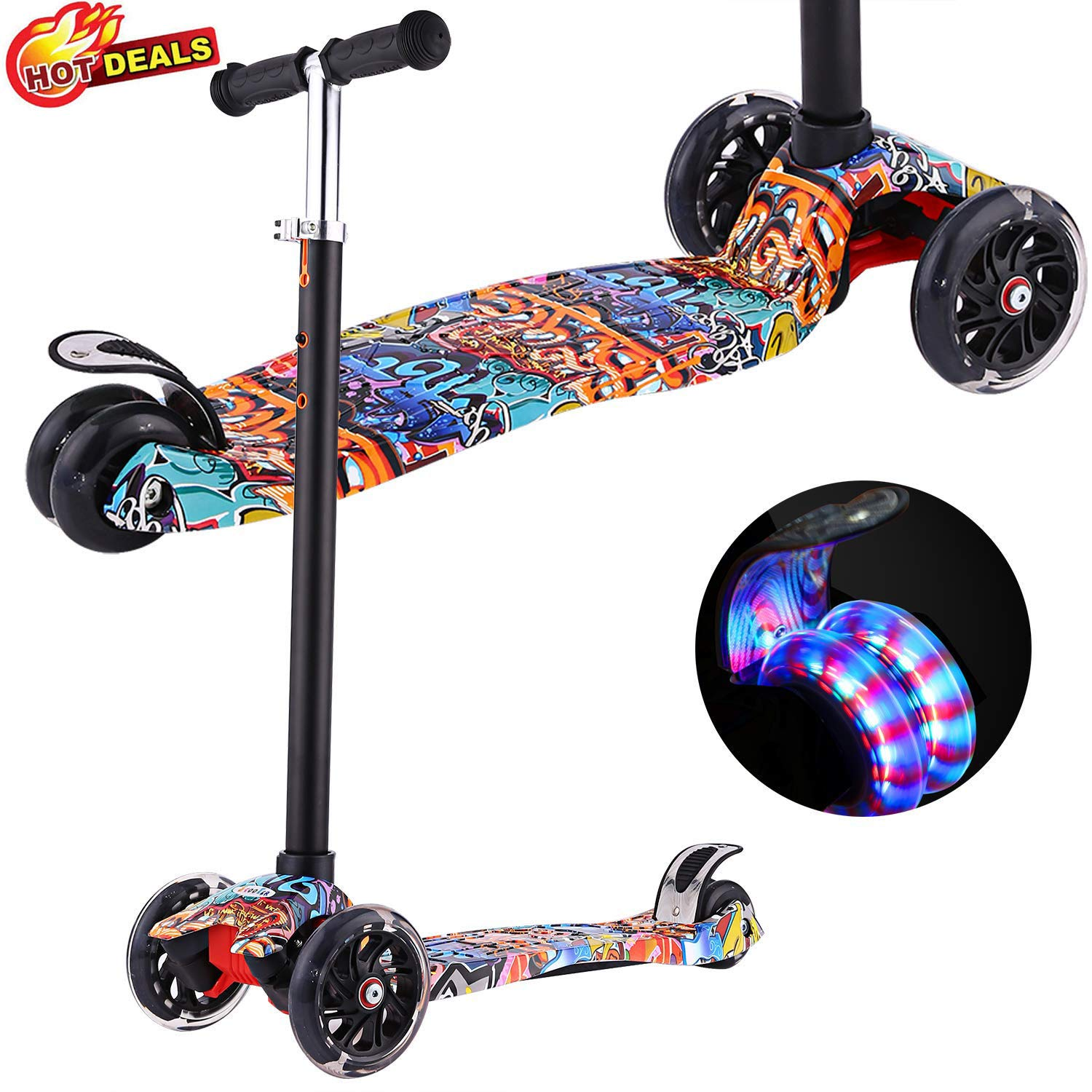 Scooters for Kids, Kick Scooter with Adjustable Height | Extra-Wide Deck | PU Flashing 3-Wheels, Cool Scooter for Kid from 2 to 14 Year-Old (Re Street Dance Doodle) by Aceshin