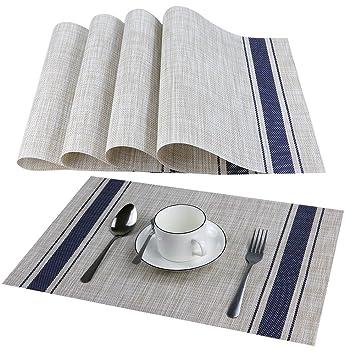 Kgogo Platzsets 4er Tischsets Abwaschbar 30x45cm Hitzebeständig