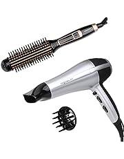 Aigostar -Secador profesional de pelo en color plateado y negro con difusor y accesorios. 2200 watios.& Cepillo moldeador rizador eléctrico 24 watios combinación