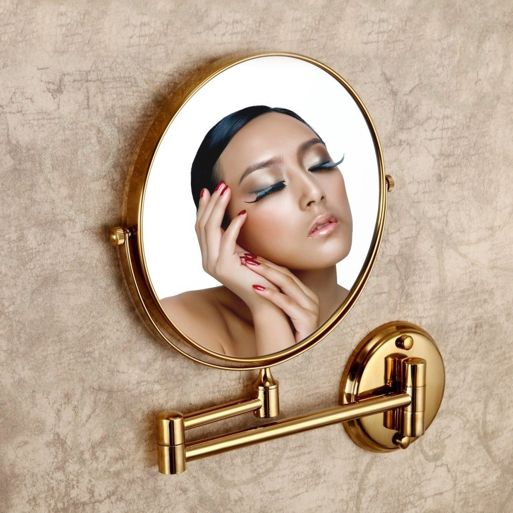 Leyden TM Gold Finish 8-inch Round Wall Mounted 3X Magnifying Make up Mirror Bathroom Vanity Mirrors