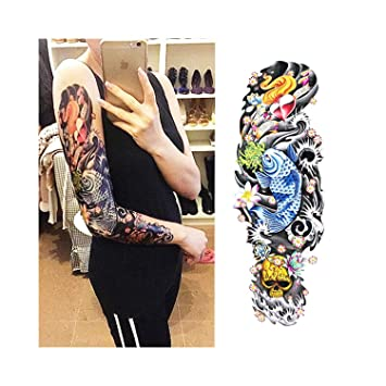 Full Flower Arm Tattoo Sticker 40models Fish Peacock Lotus